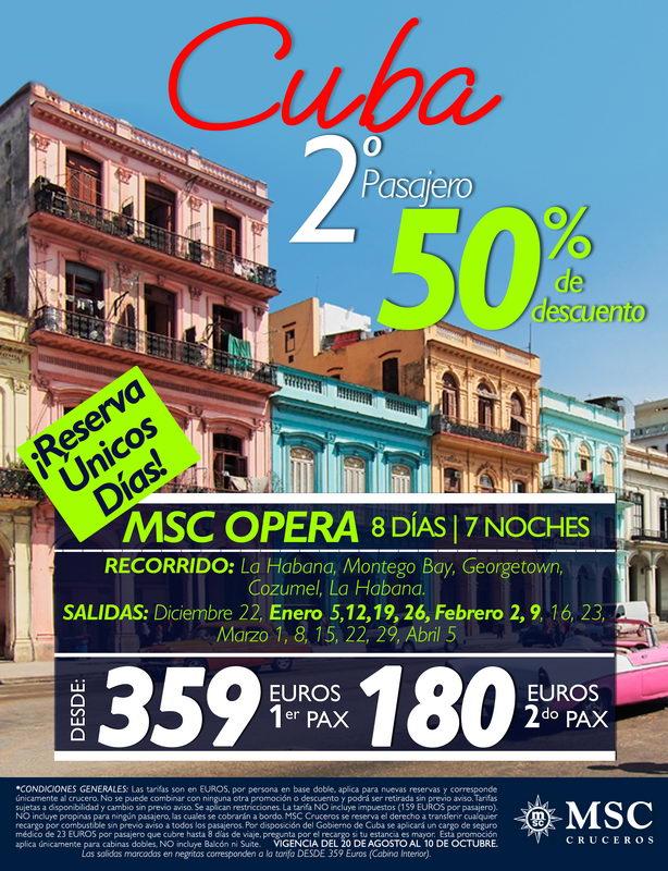 Crucero Cuba 50% descuento
